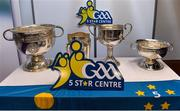 25 January 2019; The All-Ireland trophies, from left, the Sam Maguire, the Liam MacCarthy, the Brendan Martin and the Seán O'Duffy at the GAA Five Star Centres stand at the Citywest Hotel Convention Centre in Saggart, Co. Dublin. Photo by Piaras Ó Mídheach/Sportsfile