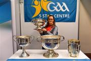 25 January 2019; Cork camogie player Aoife Murray with the Seán O'Duffy Cup at the GAA Five Star Centres stand at the Citywest Hotel Convention Centre in Saggart, Co. Dublin. Photo by Piaras Ó Mídheach/Sportsfile
