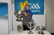 25 January 2019; Monaghan footballer Rory Beggan with the Sam Maguire Cup at the GAA Five Star Centres stand at the Citywest Hotel Convention Centre in Saggart, Co. Dublin. Photo by Piaras Ó Mídheach/Sportsfile