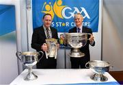 25 January 2019; Pat Culhane, National Development Officer, left, and David Ruddy, President IPPN President, with the Brendan Martin, Liam MacCarthy, Sam Maguire ad Seán O'Duffy cups at the GAA Five Star Centres stand at the Citywest Hotel Convention Centre in Saggart, Co. Dublin. Photo by Piaras Ó Mídheach/Sportsfile
