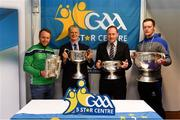 25 January 2019; In attendance at the GAA Five Star Centres stand are, from left, Limerick hurler Paul Browne, David Ruddy, President IPPN President, Pat Culhane, National Development Officer, and Rory Beggan, Monaghan footballer, with the Liam MacCarthy, Brendan Martin, Seán O'Duffy and Sam Maguire cups at the Citywest Hotel Convention Centre in Saggart, Co. Dublin. Photo by Piaras Ó Mídheach/Sportsfile
