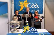 25 January 2019; David Ruddy, President IPPN President, with Kathleen Egan, Camogie Association, and Aoife Murray, Cork camogie player, right, with the Liam MacCarthy, Sam Maguire, Brendan Martin and Seán O'Duffy cups at the GAA Five Star Centres stand at the Citywest Hotel Convention Centre in Saggart, Co. Dublin. Photo by Piaras Ó Mídheach/Sportsfile