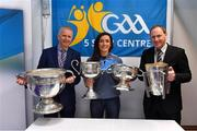 25 January 2019; Dr Gene Mehigan, left, with Dublin ladies footballer Niamh McEvoy, and Pat Culhane, National Development Officer, with the Sam Maguire, Brendan Martin, Seán O'Duffy and Liam MacCarthy Cups at the GAA Five Star Centres stand at the Citywest Hotel Convention Centre in Saggart, Co. Dublin. Photo by Piaras Ó Mídheach/Sportsfile
