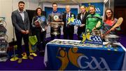 25 January 2019; In attendance at the GAA Five Star Centres stand are, from left, Martin Rabbitte, primary school teacher, Dublin ladies footballer Niamh McEvoy, Monaghan footballer Rory Beggan, David Ruddy, President IPPN President, Pat Culhane, National Development Officer, Limerick hurler Paul Browne and Cork camogie player Aoife Murray at the Citywest Hotel Convention Centre in Saggart, Co. Dublin. Photo by Piaras Ó Mídheach/Sportsfile