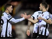25 January 2019; Michael Duffy of Dundalk, right, is congratulated by teammate Sean Murray, after scoring his side's second goal during the Jim Malone Cup match between Dundalk and Drogheda United at Oriel Park in Dundalk, Co. Louth. Photo by Seb Daly/Sportsfile