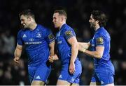 25 January 2019; Rory O'Loughlin of Leinster, centre, celebrates after scoring his side's first try with Conor O'Brien, left, and Barry Daly during the Guinness PRO14 Round 14 match between Leinster and Scarlets at the RDS Arena in Dublin. Photo by Harry Murphy/Sportsfile