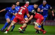 25 January 2019; Noel Reid of Leinster is tackled by Josh Macleod, left, and Jake Ball of Scarlets during the Guinness PRO14 Round 14 match between Leinster and Scarlets at the RDS Arena in Dublin. Photo by Ramsey Cardy/Sportsfile