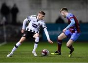 25 January 2019; Daniel Kelly of Dundalk in action against Conor Kane of Drogheda United during the Jim Malone Cup match between Dundalk and Drogheda United at Oriel Park in Dundalk, Co. Louth. Photo by Seb Daly/Sportsfile