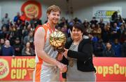 25 January 2019; Shane Rife of Glasnevin is presented with the MVP by President of Basketball Ireland Theresa Walsh after the Hula Hoops NICC Men's Cup Final match between Glasnevin and Drogheda Bullets at the National Basketball Arena in Tallaght, Dublin. Photo by Brendan Moran/Sportsfile