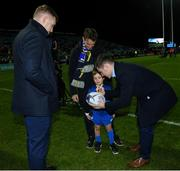 25 January 2019; Matchday mascot 5 year old Hank O'Neill, from Monkstown, Dublin, with Leinster players Dan Leavy and Luke McGrath ahead of the Guinness PRO14 Round 14 match between Leinster and Scarlets at the RDS Arena in Dublin. Photo by Ramsey Cardy/Sportsfile