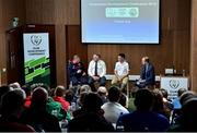 26 January 2019; Speakers, from left, John Delaney from Ballymackey AFC, Sean Mulloy from Achill Rovers AFC, Paul Oates from Broadford Rovers AFC, and MC Bernard O'Toole, during the FAI Club Development Conference at FAI National Training Centre in Abbotstown, Dublin. Photo by Matt Browne/Sportsfile