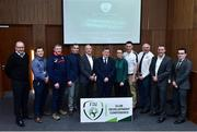 26 January 2019; FAI President Donal Conway, centre, with from left Alf Hansen, Director of the Sport Department in the Norway FA, Vincent Foley, FAI's Club Education and Supporter's officer, John Delaney from Ballymackey AFC, Walter Holleran FAI Facility Development Manager, Tom O'Shea, FAI Grassroots Director, Pearl Slattery, Development Officer for the FAI's Women's Department, Paul Oates from Broadford Rovers AFC, Sean Mulloy from Achill Rovers AFC, Liam McGroarty Business Development Manager for UEFA and Ger McDermott, FAI Club and League Development Manager during the FAI Club Development Conference at FAI National Training Centre in Abbotstown, Dublin. Photo by Matt Browne/Sportsfile