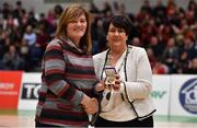 26 January 2019; Team manager Grace O'Sullivan, left, is presented with her Senior Women's National Team medal by President of Basketball Ireland Theresa Walsh during an All-Ireland Caps Presentation at the National Basketball Arena in Tallaght, Dublin. Photo by Brendan Moran/Sportsfile