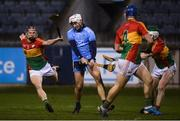 26 January 2019; Darragh O'Connell of Dublin shoots to score his side's first goal despite the chalenge of Paul Doyle of Carlow during the Allianz Hurling League Division 1B Round 1 match between Dublin and Carlow at Parnell Park, Dublin. Photo by Harry Murphy/Sportsfile