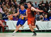 26 January 2019; Scott Kinevane of UCD Marian in action against Ciaran Roe of Pyrobel Killester during the Hula Hoops Men's Pat Duffy National Cup Final match between Pyrobel Killester and UCD Marian at the National Basketball Arena in Tallaght, Dublin. Photo by Brendan Moran/Sportsfile