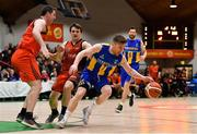 26 January 2019; Scott Kinevane of UCD Marian in action against Kieran O'Brien, left, and Ciaran Roe of Pyrobel Killester during the Hula Hoops Men's Pat Duffy National Cup Final match between Pyrobel Killester and UCD Marian at the National Basketball Arena in Tallaght, Dublin. Photo by Brendan Moran/Sportsfile
