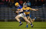 26 January 2019; Donagh Maher of Tipperary in action against David McInerney of Clare during the Allianz Hurling League Division 1A Round 1 match between Tipperary and Clare at Semple Stadium in Thurles, Co. Tipperary. Photo by Diarmuid Greene/Sportsfile