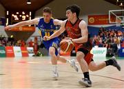 26 January 2019; Ciaran Roe of Pyrobel Killester in action against Scott Kinevane of UCD Marian during the Hula Hoops Men's Pat Duffy National Cup Final match between Pyrobel Killester and UCD Marian at the National Basketball Arena in Tallaght, Dublin. Photo by Eóin Noonan/Sportsfile