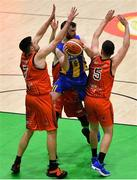 26 January 2019; Cathal Finn of UCD Marian in action against Alan Casey, left, and Andy McGeever of Pyrobel Killester during the Hula Hoops Men's Pat Duffy National Cup Final match between Pyrobel Killester and UCD Marian at the National Basketball Arena in Tallaght, Dublin. Photo by Eóin Noonan/Sportsfile