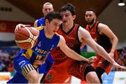 26 January 2019; Cathal Finn of UCD Marian in action against Ciaran Roe of Pyrobel Killester during the Hula Hoops Men's Pat Duffy National Cup Final match between Pyrobel Killester and UCD Marian at the National Basketball Arena in Tallaght, Dublin. Photo by Brendan Moran/Sportsfile