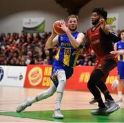 26 January 2019; Mike Garrow of UCD Marian in action against Royce Williams of Pyrobel Killester during the Hula Hoops Men's Pat Duffy National Cup Final match between Pyrobel Killester and UCD Marian at the National Basketball Arena in Tallaght, Dublin. Photo by Brendan Moran/Sportsfile