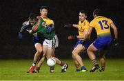 26 January 2019; Diarmuid O'Connor of Mayo in action against Roscommon players, from left, Ronan Daly, Conor Hussey and Donie Smith during the Allianz Football League Division 1 Round 1 match between Mayo and Roscommon at Elverys MacHale Park in Castlebar, Co. Mayo. Photo by Piaras Ó Mídheach/Sportsfile