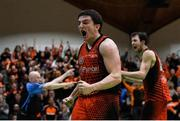 26 January 2019; Ciaran Roe of Pyrobel Killester celebrates his side regaining posession late in the game during the Hula Hoops Men's Pat Duffy National Cup Final match between Pyrobel Killester and UCD Marian at the National Basketball Arena in Tallaght, Dublin. Photo by Eóin Noonan/Sportsfile