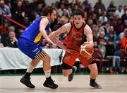 26 January 2019; Ciaran Roe of Pyrobel Killester in action against Barry Drumm of UCD Marian during the Hula Hoops Men's Pat Duffy National Cup Final match between Pyrobel Killester and UCD Marian at the National Basketball Arena in Tallaght, Dublin. Photo by Brendan Moran/Sportsfile