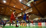26 January 2019; Ciaran Roe of Pyrobel Killester in action against Mariusz Markowicz of UCD Marian during the Hula Hoops Men's Pat Duffy National Cup Final match between Pyrobel Killester and UCD Marian at the National Basketball Arena in Tallaght, Dublin. Photo by Brendan Moran/Sportsfile
