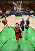 26 January 2019; Ciaran Roe of Pyrobel Killester goes up for a basket during the Hula Hoops Men's Pat Duffy National Cup Final match between Pyrobel Killester and UCD Marian at the National Basketball Arena in Tallaght, Dublin. Photo by Brendan Moran/Sportsfile
