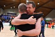 26 January 2019; Kieran O'Brien of Pyrobel Killester celebrates with assistant coach Jonathan Grennell after the Hula Hoops Men's Pat Duffy National Cup Final match between Pyrobel Killester and UCD Marian at the National Basketball Arena in Tallaght, Dublin. Photo by Brendan Moran/Sportsfile