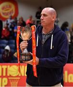 26 January 2019; Guest of honout and former Ireland international Pat Burke prepares to present te cup after the Hula Hoops Men's Pat Duffy National Cup Final match between Pyrobel Killester and UCD Marian at the National Basketball Arena in Tallaght, Dublin. Photo by Brendan Moran/Sportsfile