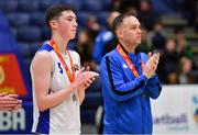 27 January 2019; CJ Fulton of Belfast Star with his father and Belfast Star assistant coach Adrian Fulton after the Hula Hoops Under 18 Men's National Cup Final match between Belfast Star and Moycullen at the National Basketball Arena in Tallaght, Dublin. Photo by Brendan Moran/Sportsfile