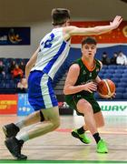 27 January 2019; Paul Kelly of Moycullen in action against Conor McDonnell of Belfast Star during the Hula Hoops Under 18 Men's National Cup Final match between Belfast Star and Moycullen at the National Basketball Arena in Tallaght, Dublin. Photo by Eóin Noonan/Sportsfile
