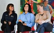 27 January 2019; Deirdre Brennan, Erin Bracken, and Maeve Coleman during a Basketball Ireland Women's Coaching Forum at the National Basketball Arena in Tallaght, Dublin. Photo by Brendan Moran/Sportsfile