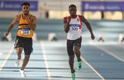 27 January 2019; Israel Olatunde of Dundealgan AC, Co. Louth, right, on his way to winning the Junior Men 60m event, ahead of Ryan O'Leary of Leevale AC, Co. Cork, during the Irish Life Health Junior and U23 Indoors at AIT International Arena in Athlone, Co. Westmeath. Photo by Sam Barnes/Sportsfile