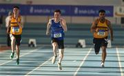 27 January 2019; Athletes, from left, Dave McInerney of Leevale AC, Co. Cork, Cillian Griffin of Tralee Harriers AC, Co. Kerry, and Ryan O'Leary of Leevale AC, Co. Cork, competing in the Junior Men's 60m event during the Irish Life Health Junior and U23 Indoors at AIT International Arena in Athlone, Co. Westmeath. Photo by Sam Barnes/Sportsfile