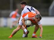 27 January 2019; Mark Shields of Armagh in action against Ben McCormack of Kildare during the Allianz Football League Division 2 Round 1 match between Kildare and Armagh at St Conleth's Park in Newbridge, Kildare. Photo by Piaras Ó Mídheach/Sportsfile