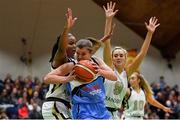 27 January 2019; Claire Rockall of Maree in action against Kollyns Scarbrough, left, and Nichola Rafferty of Ulster University Elks during the Hula Hoops Women's Division One National Cup Final match between Maree and Ulster University Elks at the National Basketball Arena in Tallaght, Dublin. Photo by Eóin Noonan/Sportsfile