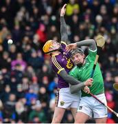 27 January 2019; Peter Casey of Limerick in action against Simon Donohoe of Wexford during the Allianz Hurling League Division 1A Round 1 match between Wexford and Limerick at Innovate Wexford Park in Wexford. Photo by Matt Browne/Sportsfile