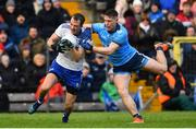 27 January 2019; Jack McCarron of Monaghan is fouled by John Small of Dublin for which Small was  shown a black card during the Allianz Football League Division 1 Round 1 match between Monaghan and Dublin at St Tiernach's Park in Clones, Co. Monaghan. Photo by Ramsey Cardy/Sportsfile