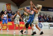 27 January 2019; Claire Rockall of Maree in action against Alex Mulligan, left, and Nichola Rafferty of Ulster University Elks during the Hula Hoops Women's Division One National Cup Final match between Maree and Ulster University Elks at the National Basketball Arena in Tallaght, Dublin. Photo by Eóin Noonan/Sportsfile