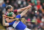 27 January 2019; Ronan Burke of Galway in action against Neil Foyle of Laois during the Allianz Hurling League Division 1B Round 1 match between Galway and Laois at Pearse Stadium in Galway. Photo by Ray Ryan/Sportsfile
