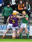 27 January 2019; Liam Ryan, left, and Simon Donohoe of Wexford tussle with Seamus Flanagan of Limerick during the Allianz Hurling League Division 1A Round 1 match between Wexford and Limerick at Innovate Wexford Park in Wexford. Photo by Matt Browne/Sportsfile