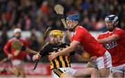 27 January 2019; Billy Ryan of Kilkenny is tackled by Conor O'Sullivan and Seán O'Donoghue of Cork, right, during the Allianz Hurling League Division 1A Round 1 match between Kilkenny and Cork at Nowlan Park in Kilkenny. Photo by Ray McManus/Sportsfile