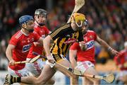 27 January 2019; Billy Ryan of Kilkenny is tackled by Conor O'Sullivan, left,  and Seán O'Donoghue of Cork, during the Allianz Hurling League Division 1A Round 1 match between Kilkenny and Cork at Nowlan Park in Kilkenny. Photo by Ray McManus/Sportsfile