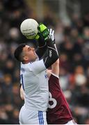 27 January 2019; Raymond Galligan of Cavan in action against Ian Burke of Galway during the Allianz Football League Division 1 Round 1 match between Galway and Cavan at Pearse Stadium in Galway. Photo by Ray Ryan/Sportsfile