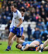 27 January 2019; John Small of Dublin is fouled by Jack McCarron of Monaghan for which Jack McCarron was shown a yellow card during the Allianz Football League Division 1 Round 1 match between Monaghan and Dublin at St Tiernach's Park in Clones, Co. Monaghan. Photo by Ramsey Cardy/Sportsfile