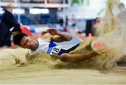 27 January 2019; Rafael McCaffrey of Ratoath AC, Co. Meath, competing in the Junior Men Long Jump event during the Irish Life Health Junior and U23 Indoors at AIT International Arena in Athlone, Co. Westmeath. Photo by Sam Barnes/Sportsfile