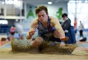 27 January 2019; David Dagg of Dundrum South Dublin AC, Co. Dublin, competing in the U23 Men Long Jump event during the Irish Life Health Junior and U23 Indoors at AIT International Arena in Athlone, Co. Westmeath. Photo by Sam Barnes/Sportsfile